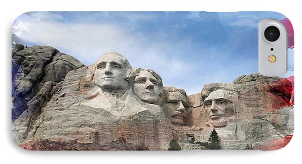 Mt Rushmore Flag Frame IPhone Case by David Lawson