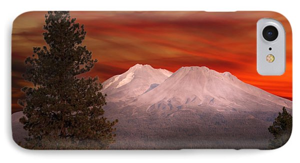 Mt Shasta Fire In The Sky IPhone Case by Randall Branham