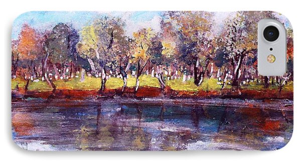 IPhone Case featuring the painting Mt Feake Along The Charles River by Rita Brown