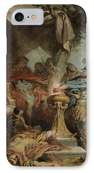 Mucius Scaevola Before Porsenna Oil On Canvas IPhone Case by Francois Boucher