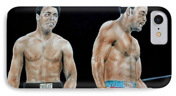 Muhammad Ali Vs George Foreman IPhone Case by Jim Fitzpatrick