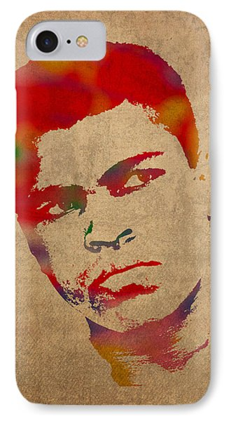 Muhammad Ali Watercolor Portrait On Worn Distressed Canvas Phone Case by Design Turnpike