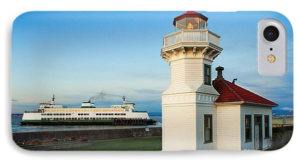 Mukilteo Ferry And Lighthouse IPhone Case by Inge Johnsson