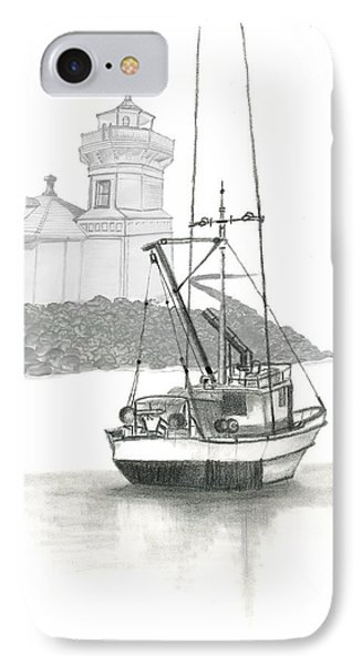 IPhone Case featuring the drawing Mukilteo Lighthouse by Terry Frederick