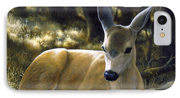 Mule Deer Fawn - A Quiet Place IPhone Case by Crista Forest