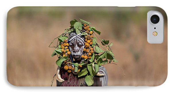 Mursi Tribe In Southern Ethiopia IPhone Case by Ton Koene