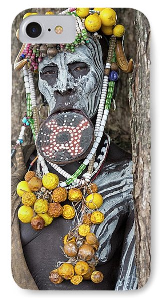Mursi Woman With Lip Plate And Body Art IPhone Case by Tony Camacho