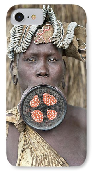 Mursi Woman With Lip Plate IPhone Case by Tony Camacho
