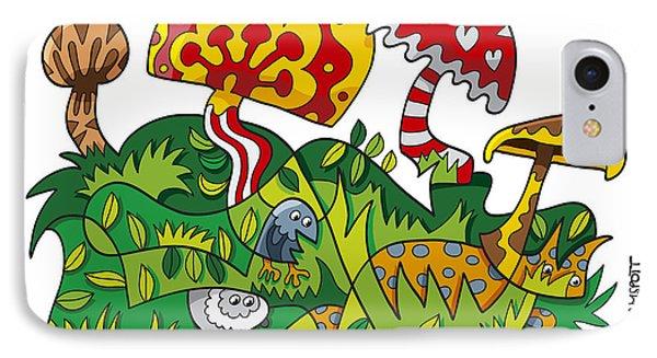 Mushroom Fantasy Doodle IPhone Case by Frank Ramspott