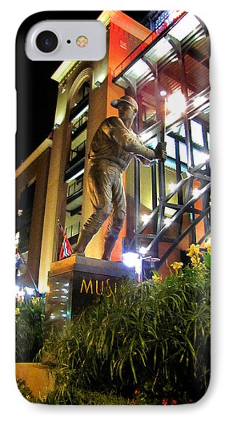 IPhone Case featuring the photograph Musial Statue At Night by John Freidenberg