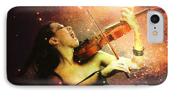 Music Explodes In The Night Phone Case by Linda Lees