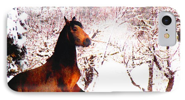 Mustang In April Snow IPhone Case by Anastasia Savage Ealy