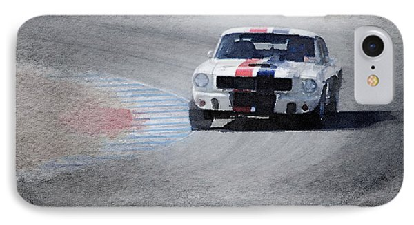 Mustang On Race Track Watercolor IPhone Case by Naxart Studio