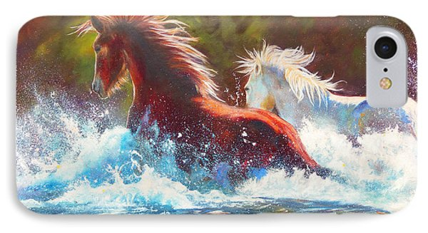 IPhone Case featuring the painting Mustang Splash by Karen Kennedy Chatham