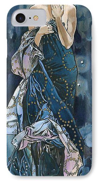 IPhone Case featuring the painting My Acrylic Painting As An Interpretation Of The Famous Artwork Of Alphonse Mucha - Moon - by Elena Yakubovich