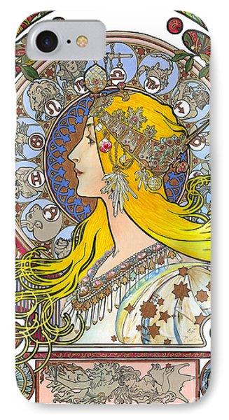 My Acrylic Painting As An Interpretation Of The Famous Artwork Of Alphonse Mucha - Zodiac - IPhone Case by Elena Yakubovich