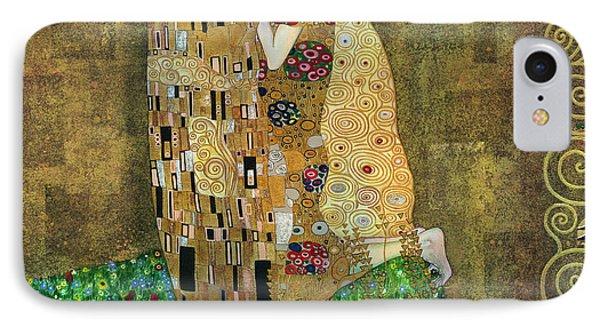 My Acrylic Painting As An Interpretation Of The Famous Artwork Of Gustav Klimt The Kiss - Yakubovich IPhone Case by Elena Yakubovich
