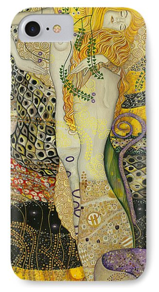 My Acrylic Painting As An Interpretation Of The Famous Artwork Of Gustav Klimt - Water Serpents I Phone Case by Elena Yakubovich