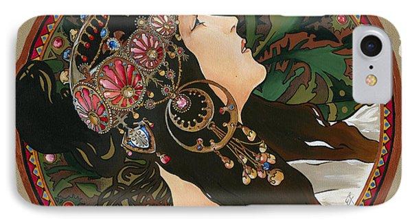 My Acrylic Painting As Interpretation Of Alphonse Mucha - Byzantine Head The Brunette Diagonal Frame IPhone Case by Elena Yakubovich
