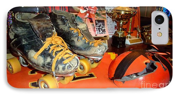 My Battle Scarred Roller Derby Skates And Helmet   Phone Case by Jim Fitzpatrick