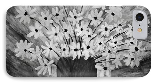IPhone Case featuring the painting My Daisies Black And White Version by Ramona Matei