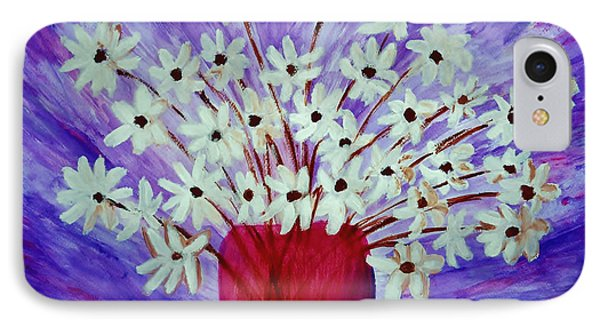 IPhone Case featuring the painting My Daisies Blue Version by Ramona Matei