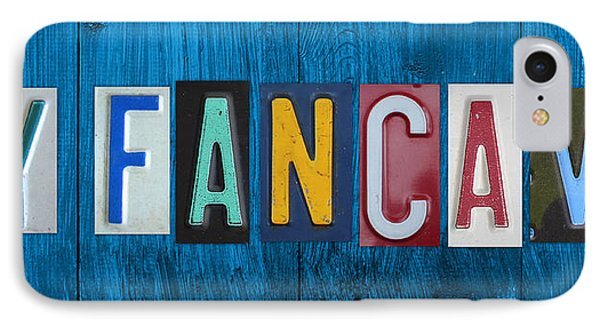 My Fancave License Plate Letter Vintage Phrase Artwork On Blue Wood Phone Case by Design Turnpike