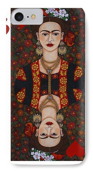 Frida Kahlo Queen Of Hearts II  IPhone Case by Madalena Lobao-Tello