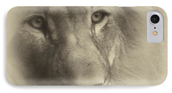 My Lion Eyes In Antique IPhone Case by Thomas Woolworth
