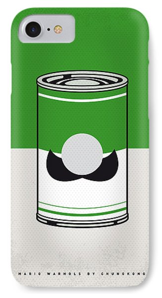 Mushroom iPhone 7 Case - My Mario Warhols Minimal Can Poster-luigi by Chungkong Art
