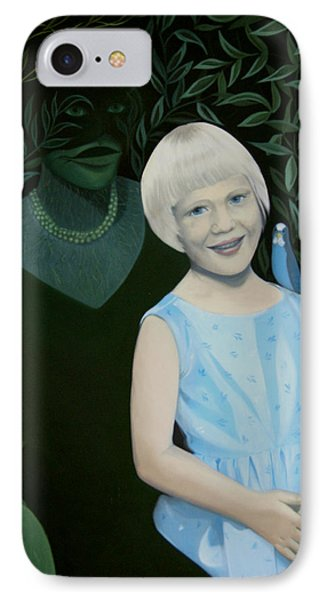 IPhone Case featuring the painting My Mother And I - And My Little Bird Pelle by Tone Aanderaa
