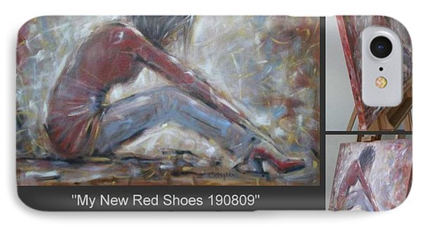 IPhone Case featuring the painting My New Red Shoes 190809 by Selena Boron