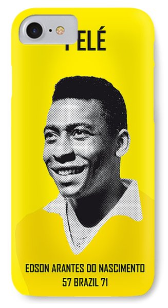 Barcelona iPhone 7 Case - My Pele Soccer Legend Poster by Chungkong Art