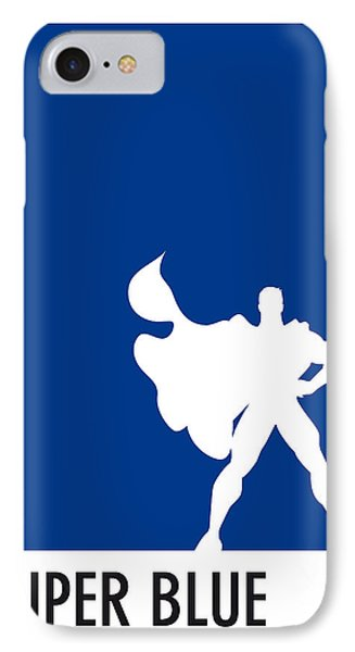 My Superhero 03 Super Blue Minimal Poster IPhone Case by Chungkong Art