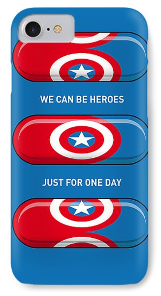 My Superhero Pills - Captain America IPhone Case by Chungkong Art