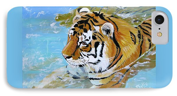 My Water Tiger IPhone Case by Phyllis Kaltenbach