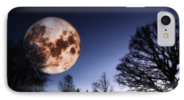 Mysterious Full Moon Rising Over Forest IPhone Case by Christian Lagereek
