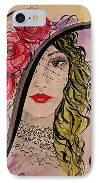 IPhone Case featuring the painting Mysterious Lady by AmaS Art