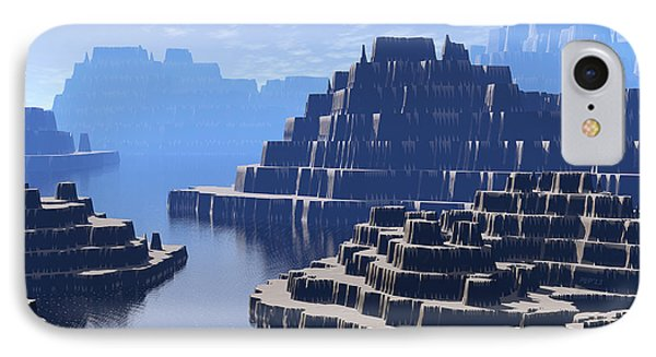 Mysterious Terraced Mountains IPhone Case by Phil Perkins