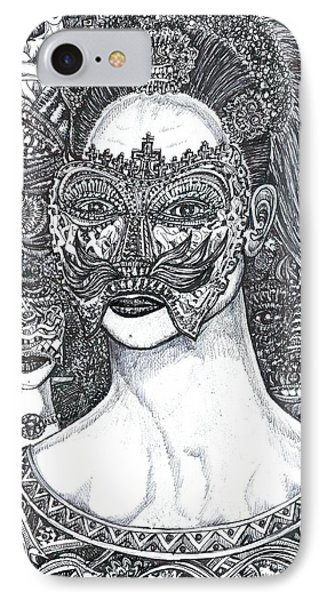 IPhone Case featuring the mixed media Mystery Girl by Giovanni Caputo