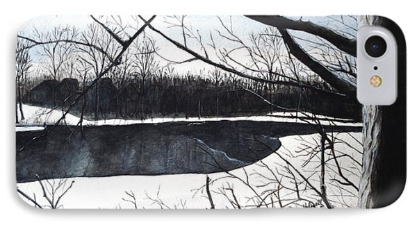 IPhone Case featuring the painting Mystic River - Winter Remnants by June Holwell