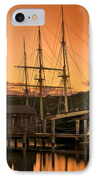 Mystic Seaport Sunset-joseph Conrad Tallship 1882 IPhone Case