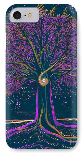 Mystic Spiral Tree 1 Purple IPhone Case by First Star Art