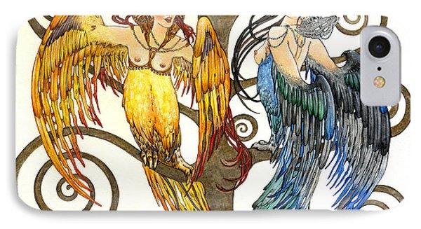Mythological Birds-women Alconost And Sirin- Elena Yakubovich  IPhone Case by Elena Yakubovich