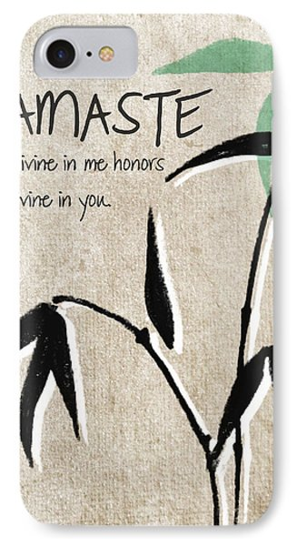 Namaste Greeting Card IPhone Case by Linda Woods