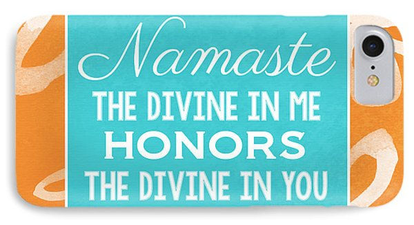 Namaste Watercolor Flowers Phone Case by Linda Woods