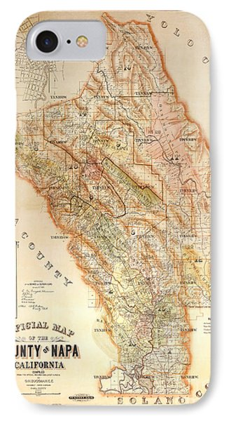Napa Valley Map 1895 IPhone Case by Jon Neidert