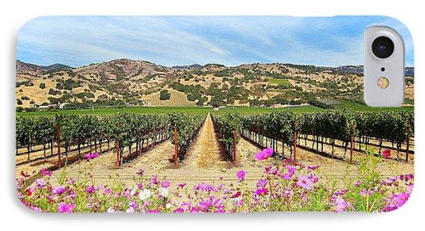 Napa Valley Vineyard With Cosmos IPhone Case