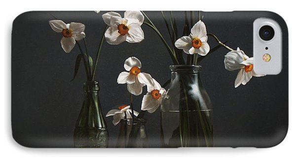 Narcissus And Bottles IPhone Case by Larry Preston
