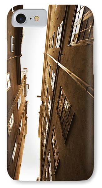 Narrow Alley Seen From Below - Sepia IPhone Case
